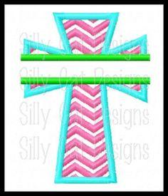 Split Chevron Cross Applique Machine Embroidery Design.