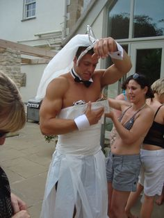 The wedding dress game at a hen party! What a good sport!