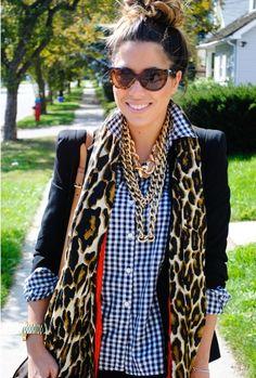 black/white gingham shirt, black blazer, leopard scarf