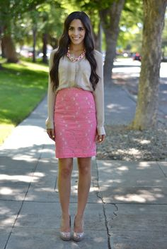 Restyle.Restore.Rejoice. This blog is awesome. Redoing thrift store finds into such cute outfits! outfit sets, fashion ideas, church outfits, pastel pink, pencil skirts, work outfits, cute outfits skirts, pink lace skirt outfit, spring style