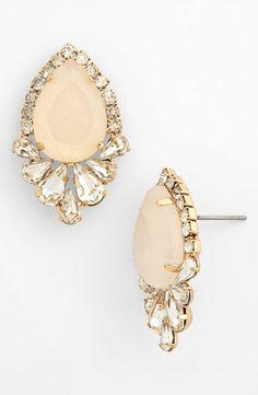 Cute pale peach crystal framed teardrop stud earrings for prom.