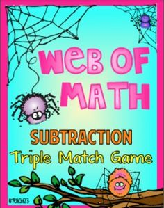 Subtraction: Spiders - Triple Match Game: This triple match game is a fun way for your students to practice subtraction facts. Students will match three cards that show subtraction problem, an answer written on a spider themed card, and ten frame. You can easily differentiate this game by having students match two cards instead of three cards. Great way to enrich your Halloween lessons! paid