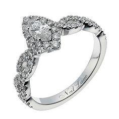 Ernest Jones - Neil Lane 14ct white gold 87 point diamond marquise ring