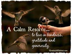to live in kindness, gratitude and generosity.  www.GratitudeHabitat.com