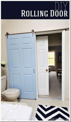 idea, door design, diy tutorial, bathrooms, pocket doors, laundry rooms, old doors, roll door, diy projects