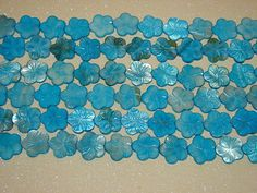 LOOSE MOTHER OF PEARL BEADS-EXTRA LARGE CARVED FLOWER-OCEAN BLUE-8 COUNT-GIFT-$4.69 | eBay