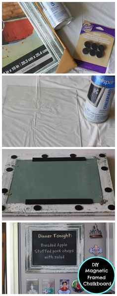 A cute and easy DIY Magnetic Chalkboard Frame via PinkWhen | Crafts | Home | Recipes