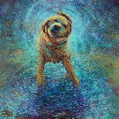 oil paintings, dogs, fingers, irises, puppi, artist, iri scott, dog paintings, blues