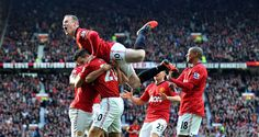 Robin van Persie: Is mobbed by his team-mates after scoring early on