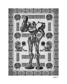 "Metroid - Samus Aran Line Art - signed museum quality giclée fine art print 16"" x 20"". $25.00, via Etsy."