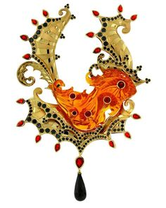 Pali's Mist- original pendant designed by Paula Crevoshay with a one of a kind orange Brazilian Opal centerpiece carved by Glenn Lehrer