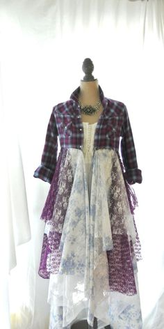 Flannel jacket, Gypsy vagabond coat, bohemian duster, boho, plaid lace lagenlook, Tartan punk, romantic Victorian, true rebel clothing on Etsy, $120.00