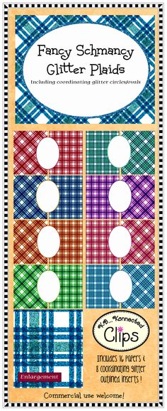 Fancy Schmancy Glitter Plaid Paper Collection $ http://www.teacherspayteachers.com/Product/Clip-Art-Fancy-Schmancy-Glitter-Plaid-Paper-Collection-750430
