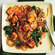 Udon Noodle Salad with Broccolini and Spicy Tofu by myrecipes #Noodles #Udon_Noodles #Tofu #Broccolini