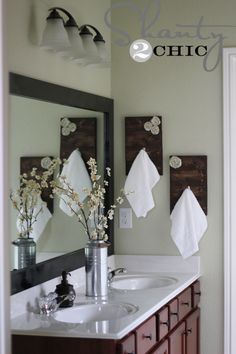 DIY Shabby Chic hand towel holders $10.00 but maybe a different piece of wood like a letter W