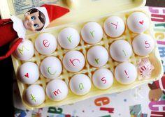 morning messages, shelf idea, your elf, elf shelf, elf on shelf, merri christma, egg, elves, kid