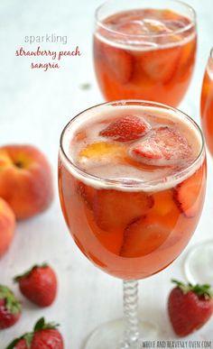 Sparkling Strawberry Peach Sangria