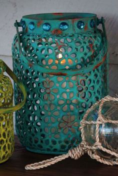 Blue Metal Lantern Beach Decor   Nautical Decor   Tropical Decor   Coastal Decor