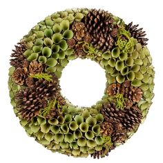 Holiday| Moss Green Wood Curl and Pine Cones Wreath.