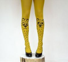 kitty cats, leg, fashion shoes, cloth, style, tights, bouba tight, funki tight, color yellow