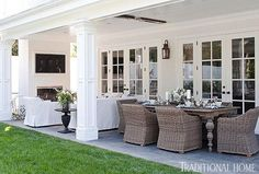 home of BIll and Guiliana Rancic dining areas, giuliana rancic, dream patio, covered patios, backyard, sitting areas, outdoor spaces, traditional homes, covered porches