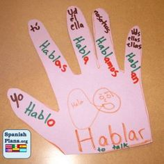 Spanish Verb Hand and other graphic organizers for Spanish. Bulletin Board Idea!