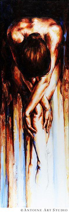 Elegant silhouette - Stasis II Nude Painting by Antoine Art.