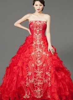 Red and gold wedding gown ne tiger couture more
