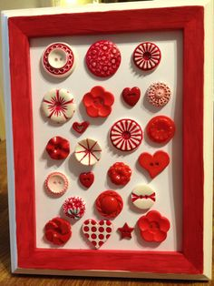 Red antique buttons display