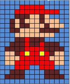 Crochet grid Mario Granny square blanket