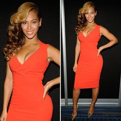 Beyonce Wearing Tangerine Dress at Super Bowl Press Conference