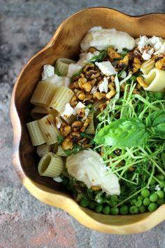 peas & pasta ~ pea sprouts, basil, feta, garlicky yogurt sauce, smoky chile walnuts #summerfest #peas #pasta