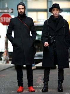 Men's Street Style.... All black... I somehow find this pretty cool... maybe its the guys red shoes that stand out! men styles, youngjun koo, red shoes, street styles, men fashion, adam katz, katz sind, coat, black