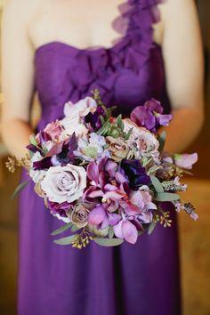 Rustic purple wedding bouquet