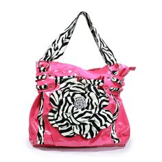Tube Accent Large Zebra Flower with Stones Handbag - Pink, (birthday gift, christmas gift, designer handbags, fashion, handbags, mothers day, xmas gift, gift idea, black, oversized) via http://myamzn.heroku.com/b/B005TZKJXY