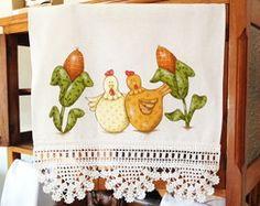 Pano De Prato Galinhas Com Crochê