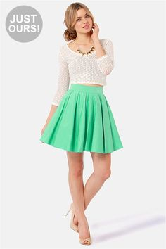 Adorable Mint Green Skirt - Mini Skirt - Full Skirt - $45.00 // All the bridesmaids in the same skirt with whatever white top they feel comfortable in!