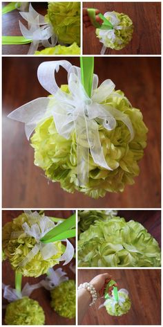 6 inch wide pomander wedding balls. lime chartreuse wedding color decoration. custom wedding orders. www.Psalm117.Etsy.com