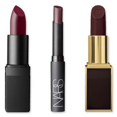 The New Red Lipstick? Wine! Mattes, Stains, Glosses and More in Fall's Hottest Shade  For a fair complexion:  NARS Semi Matte Lipstick in Scarlet Empress ($24; narscosmetics.com)     What Kate Bosworth wore:  NARS Pure Matte Lipstick in Volga ($25; narscosmetics.com)     Tom Ford Beauty Lip Color in Black Orchid ($48; neimanmarcus.com) winter lipstick colors, wine color lipstick, red matte lipstick, lip color, nars new lipstick colors, red wine lipstick, lipstick wine, fall makeup, red lipstick