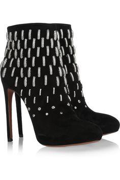 Alaïa - Metal-embellished suede boots