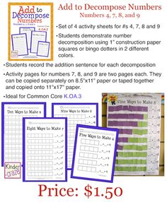 Add to Decompose Numbers: Hands-on practice for numbers 4, 7, 8, and 9