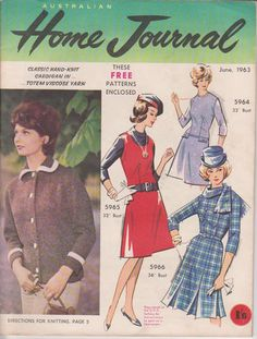 Australian Home Journal June 1963. As New with Original Free Patterns, Unused