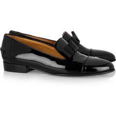 Lanvin Bow-embellished patent-leather loafers ($765) ❤ liked on Polyvore