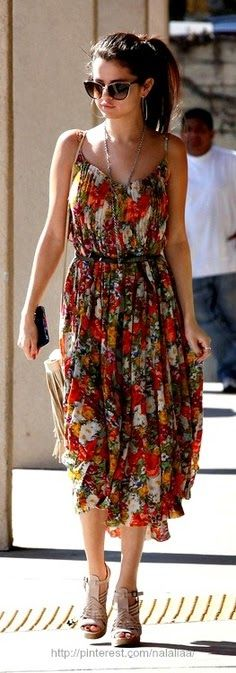 Spring / Summer - street  chic style - dressy look - beach look - belted orange  yellow floral pattern spaghetti strap waist dress + nude ...
