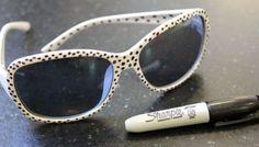 idea, polka dots, craft, art, 34 thing, sharpi diy, dot sunglass, sunglasses, diy polkadot