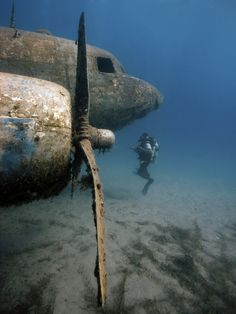 A scubadiver dives a airplane wreck