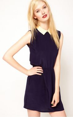 Dark Navy Sleeveless Short Dress