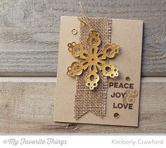 handmade Christmas card from For the Love of Paper ... kraft base ... gold die cut snowflack on a fishtail banner of burlap ... mod look with a bit of country ... like the clean lines ...