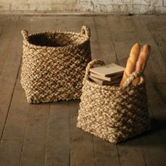 $109 Find it at the Foundary - Set of 2 Round Top with Square Base Chunky Braided Baskets