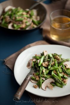 Raw Asparagus and Mushroom Salad with Miso Dressing and Walnuts